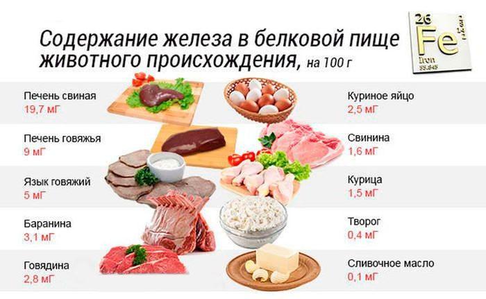 Содержание железа в белковой пищи животного происхождения